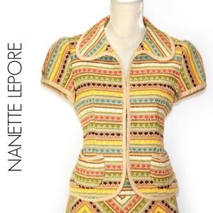 Nanette Lepore Short Sleeve Boho Tweed Blazer 8
